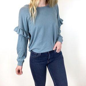 Lucky Brand   Blue Ruffle Sleeve Sweatshirt